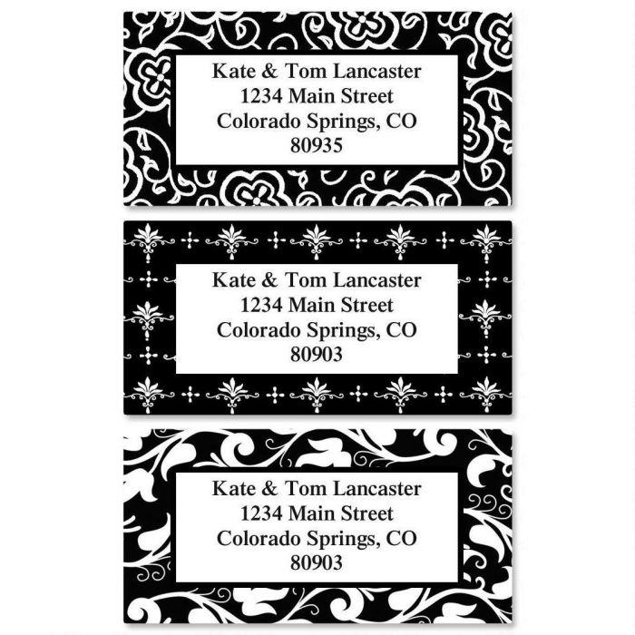 Black Elegance Border Return Address Labels  (3 Designs)