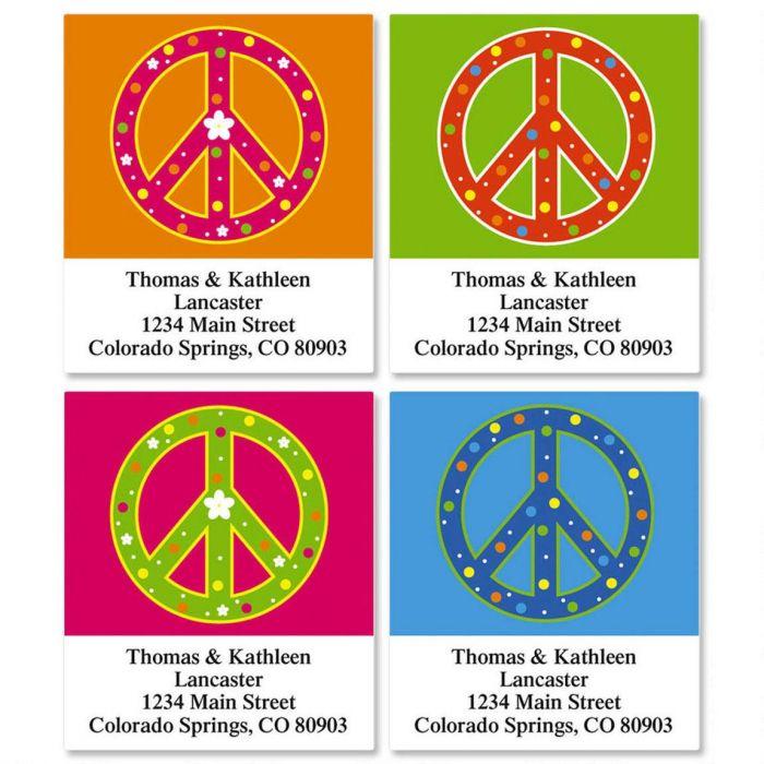 Colorful Peace Select Return Address Labels  (4 Designs)