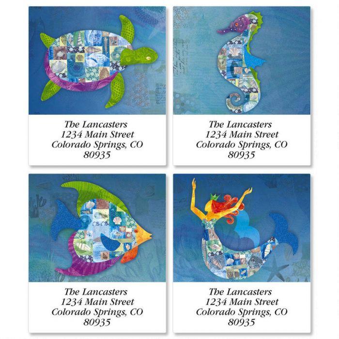 Patchwork Undersea Select Return Address Labels   (4 Designs)