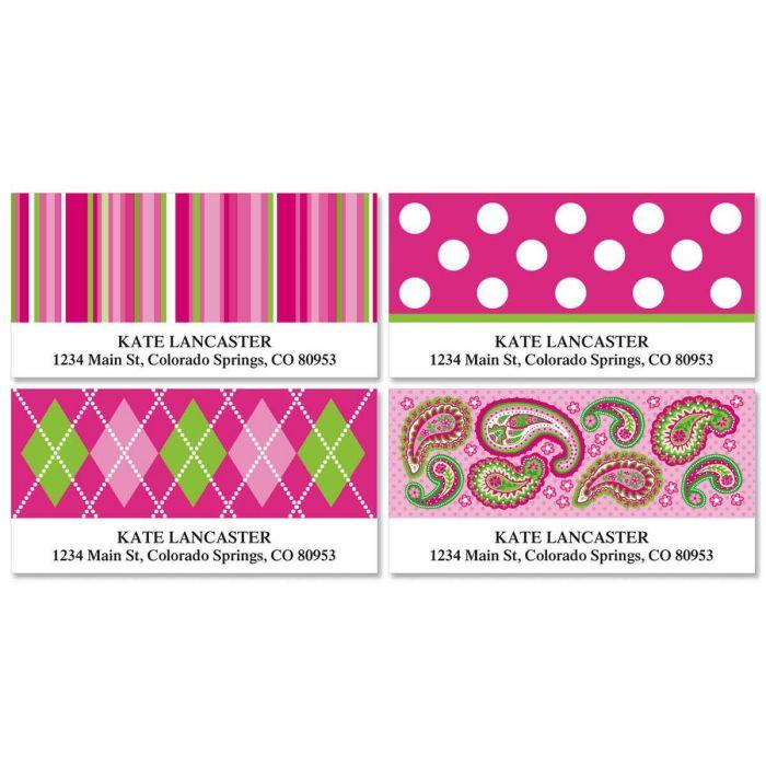 Pink Patterns Deluxe Return Address Labels  (4 Designs)