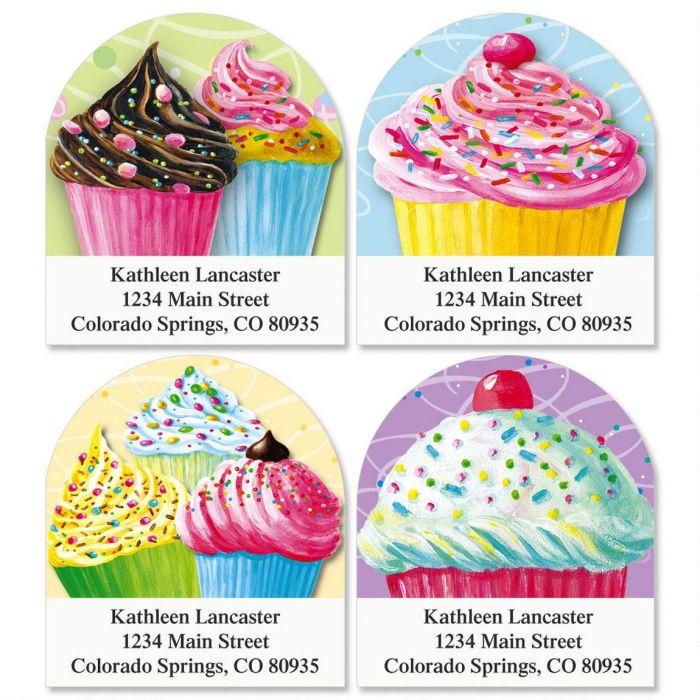 Cupcakes Diecut Return Address Labels  (4 Designs)
