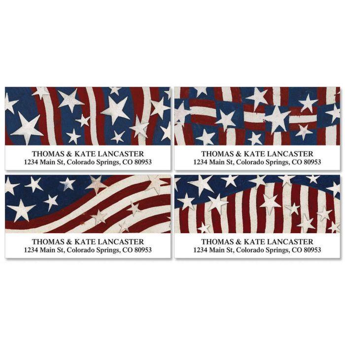 Patriotic Banner Deluxe Return Address Labels  (4 Designs)
