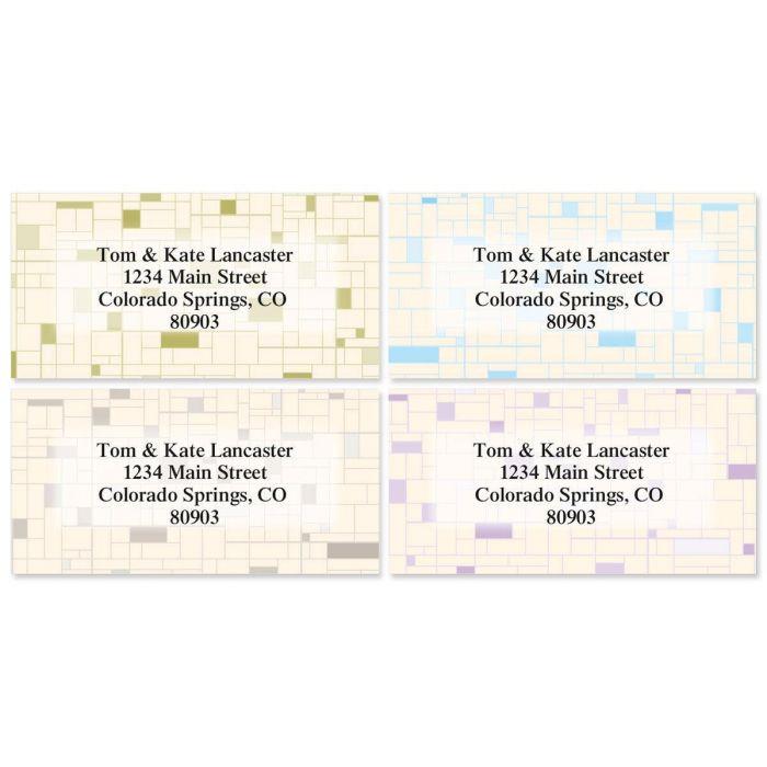 Gridlock Border Return Address Labels  (4 Designs)