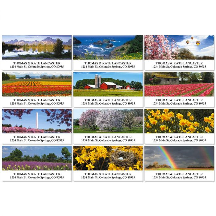 Spring Across America Deluxe Return Address Labels  (12 Designs)