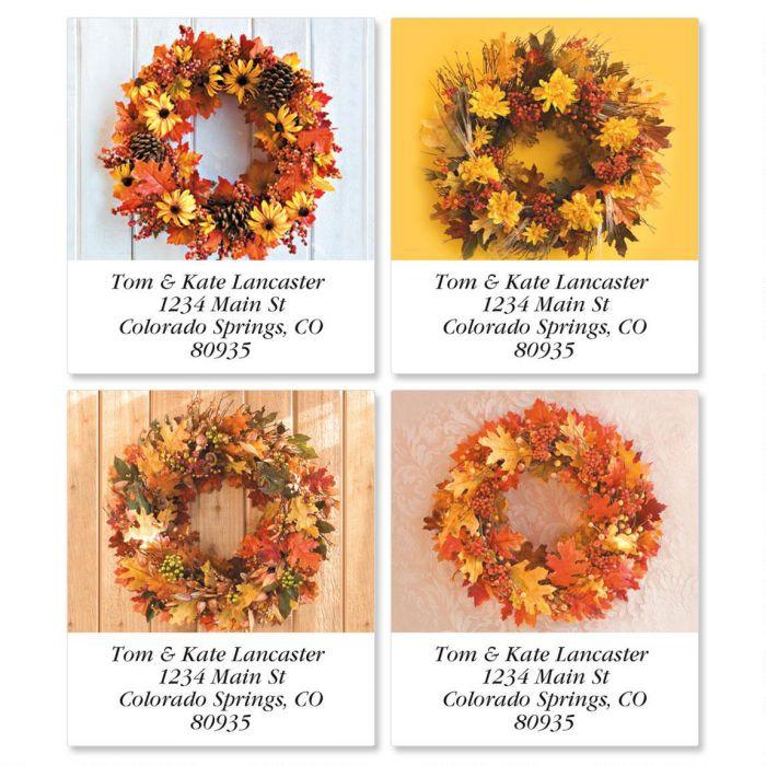 Autumn Wreath Select Return Address Labels  (4 Designs)