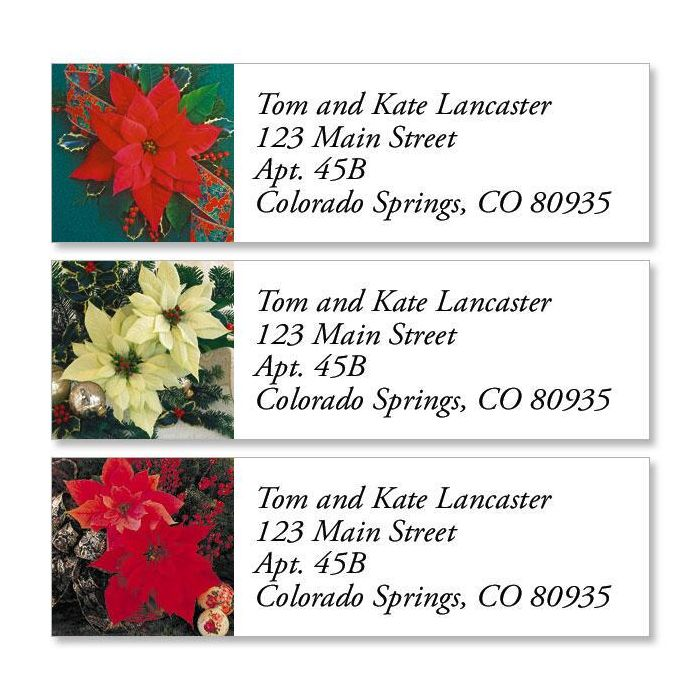 Poinsettia II Classic Return Address Labels  (3 Designs)