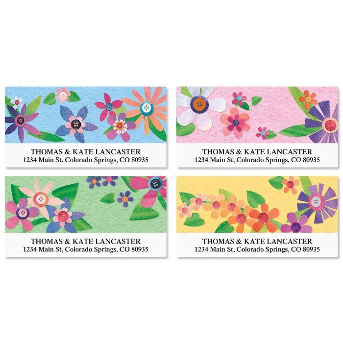Color Block Floral Deluxe Return Address Labels  (4 Designs)
