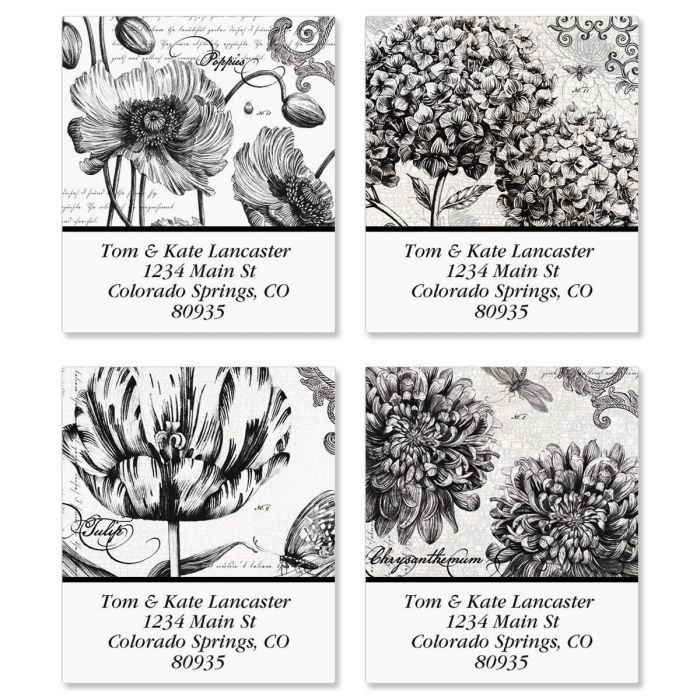 Botanical B&W Select Return Address Labels  (4 designs)