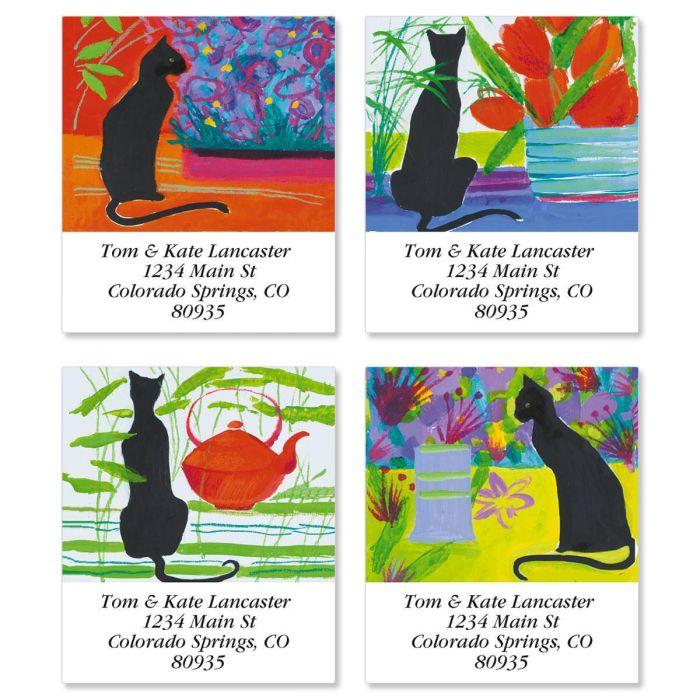 Cat Bright Select Return Address Labels  (4 Designs)