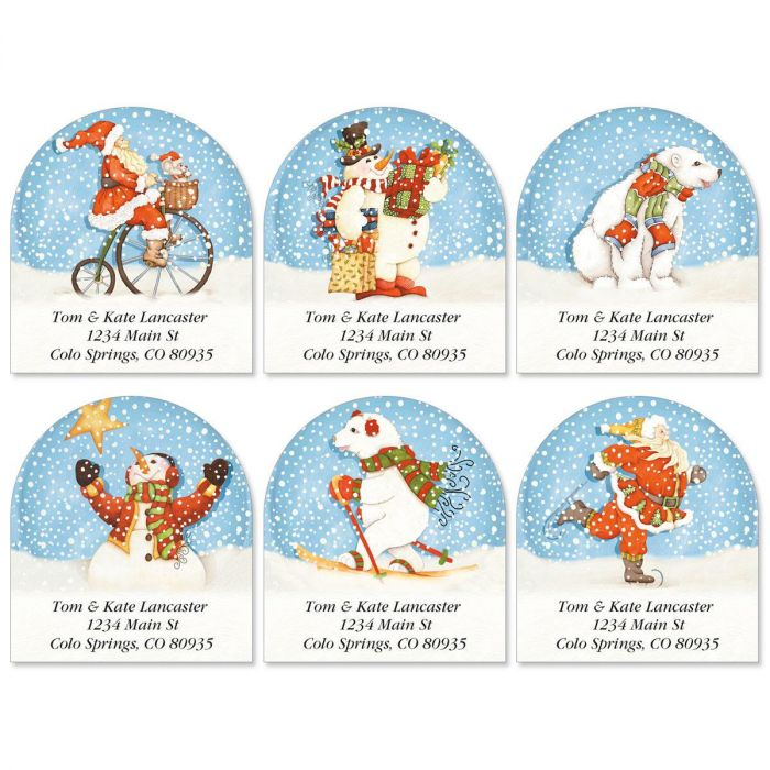 Snowabunga Diecut Return Address Labels  (6 Designs)
