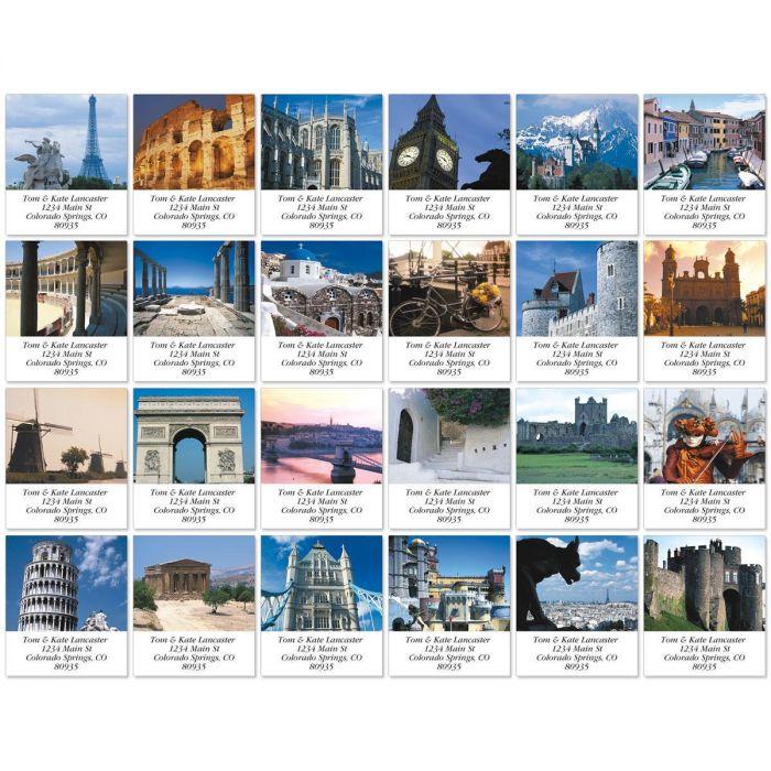 European Destinations Select Return Address Labels  (24 Designs)