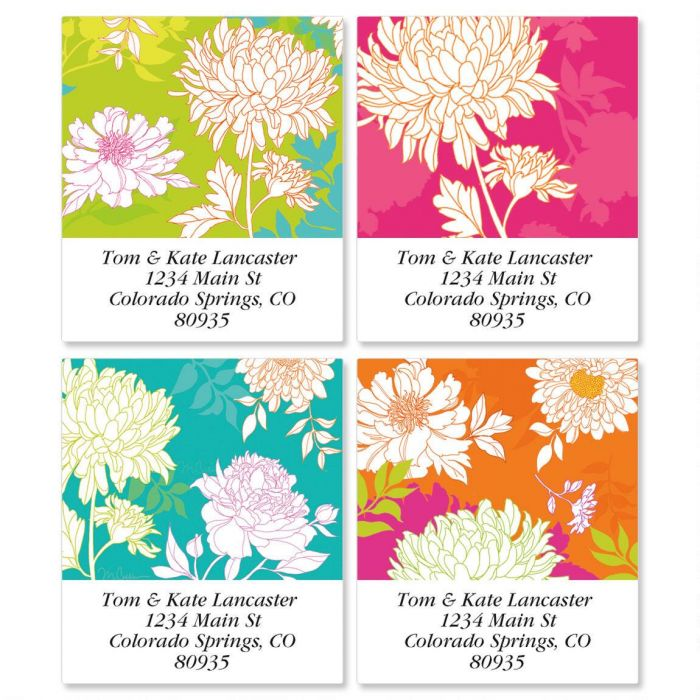 Peonies in Color Select Return Address Labels