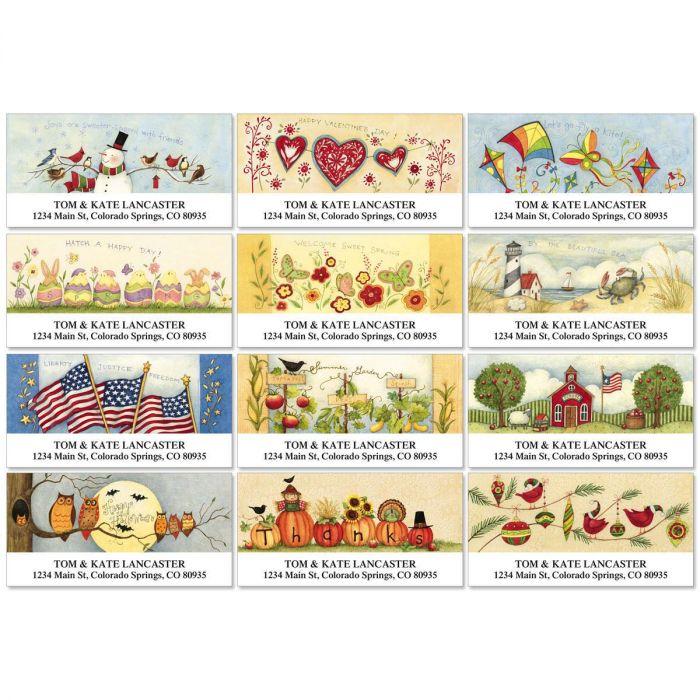 Susan's Seasons Deluxe Return Address Labels  (12 Designs)