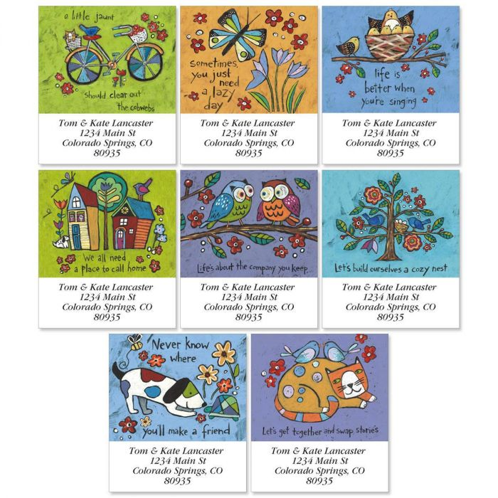 Folksy Charm Select Return Address Labels  (8 Designs)