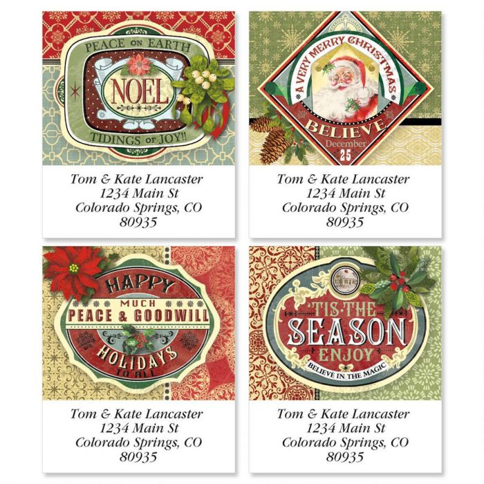 Holiday Ephemera Select Return Address Labels  (4 Designs)