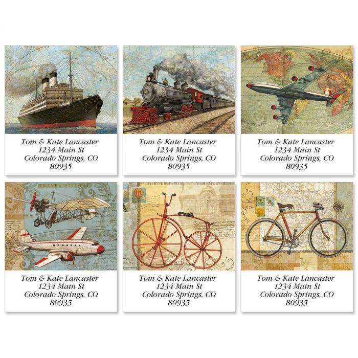 Vintage Travel Select Return Address Labels  (6 Designs)