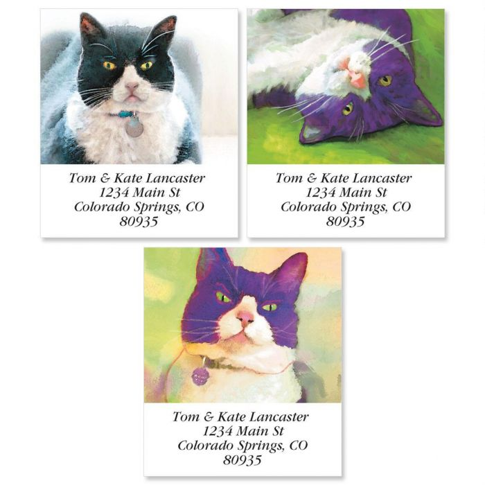 Black & White Cats Select Return Address Labels  (3 Designs)