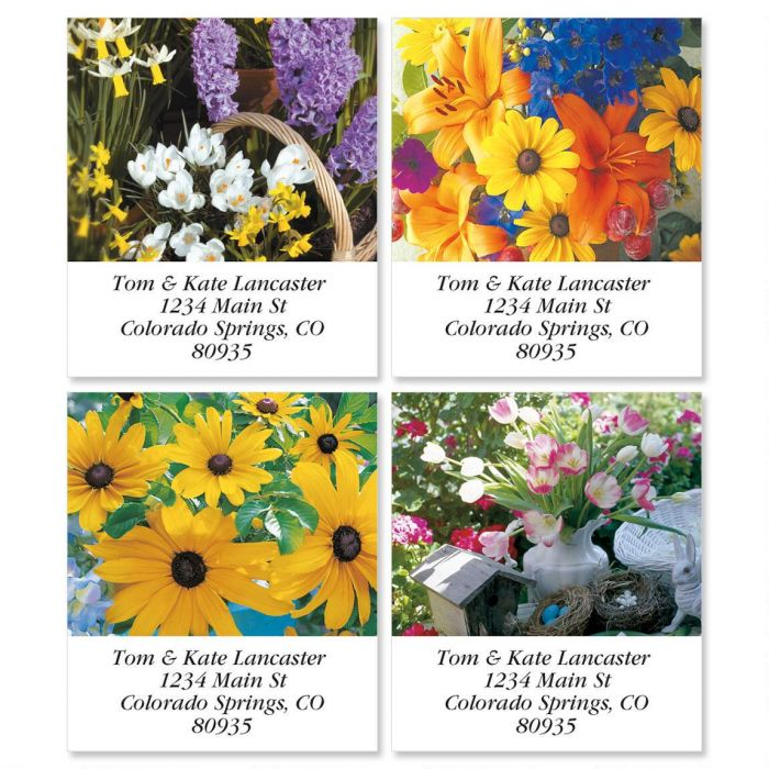 Spring Floral Select Return Address Labels  (4 Designs)