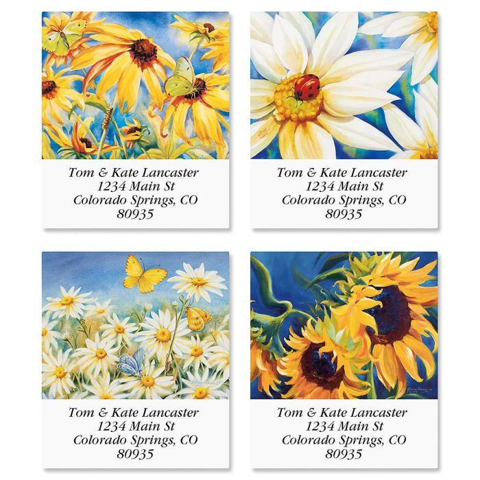 Yellow Wildflower Select Return Address Labels  (4 Designs)