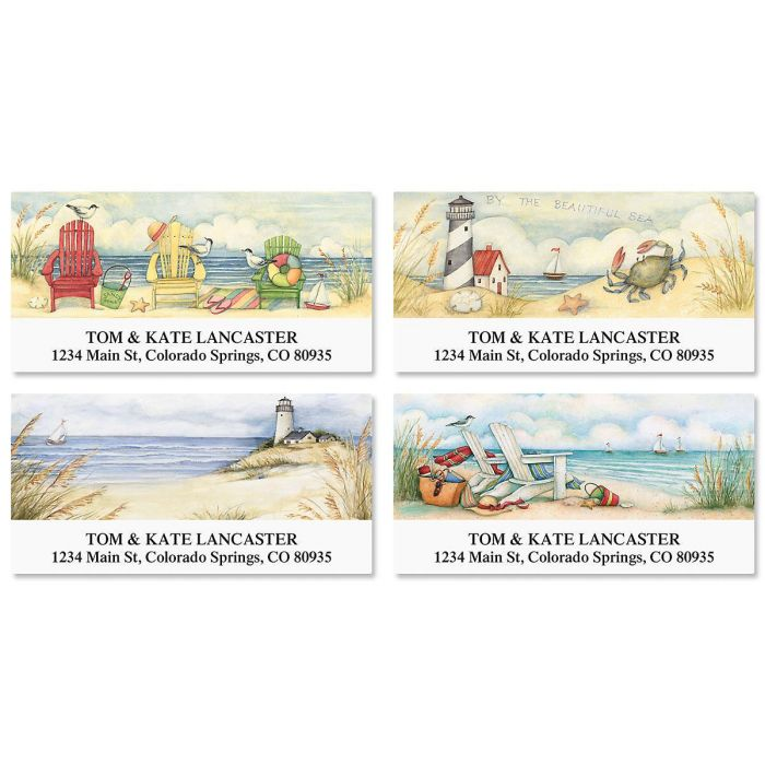 By the Beautiful Sea Deluxe Return Address Labels  (4 Designs)