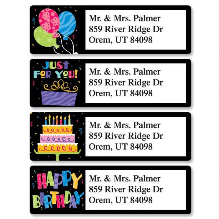 Bright On Black Classic Return Address Labels  (4 Designs)