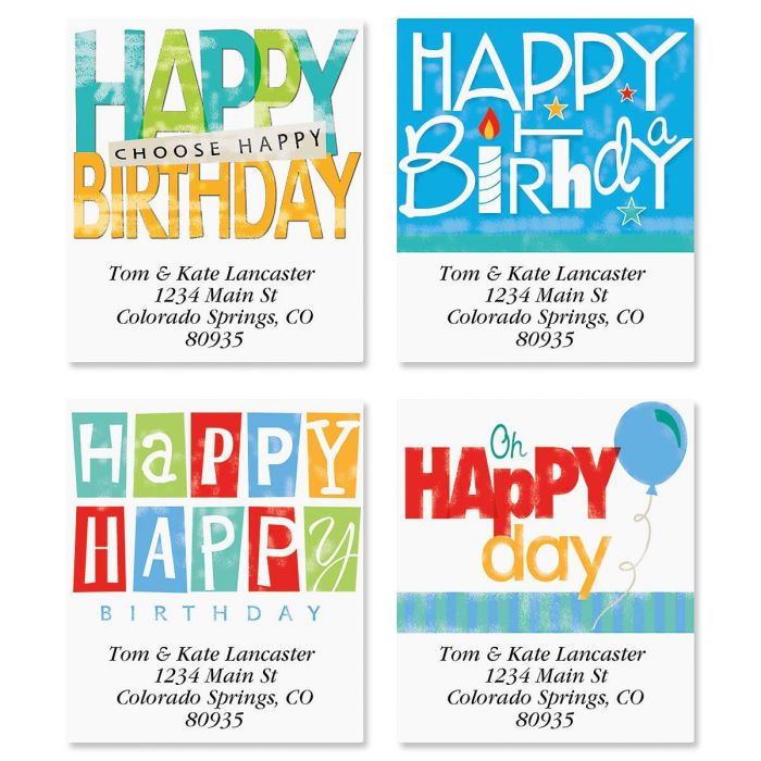 Happy Birthday Select Return Address Labels  (4 Designs)