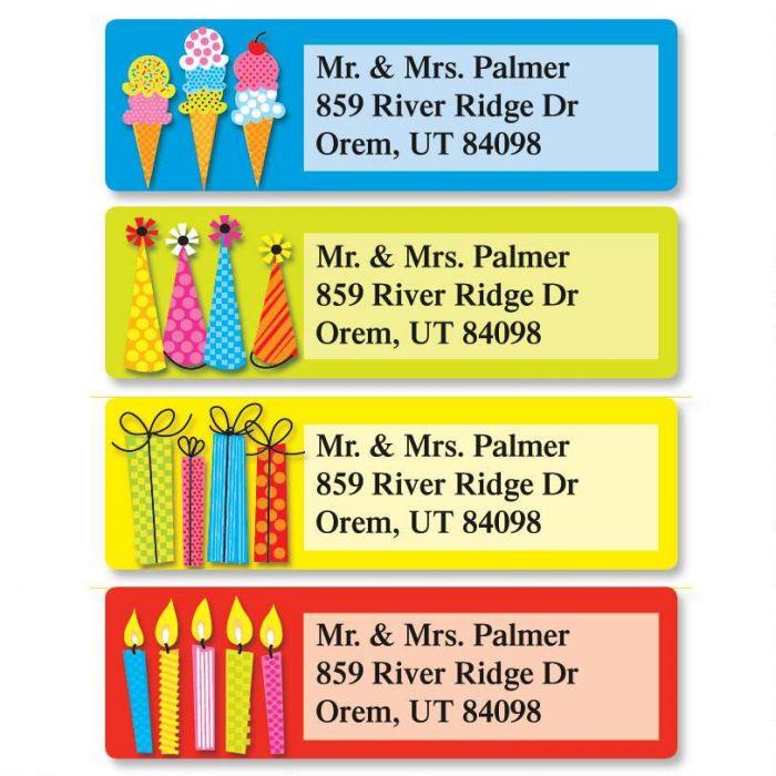Bold Birthday Classic Return Address Labels  (4 Designs)
