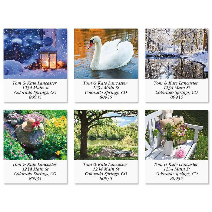 Quiet Pause Select Return Address Labels  (6 Designs)