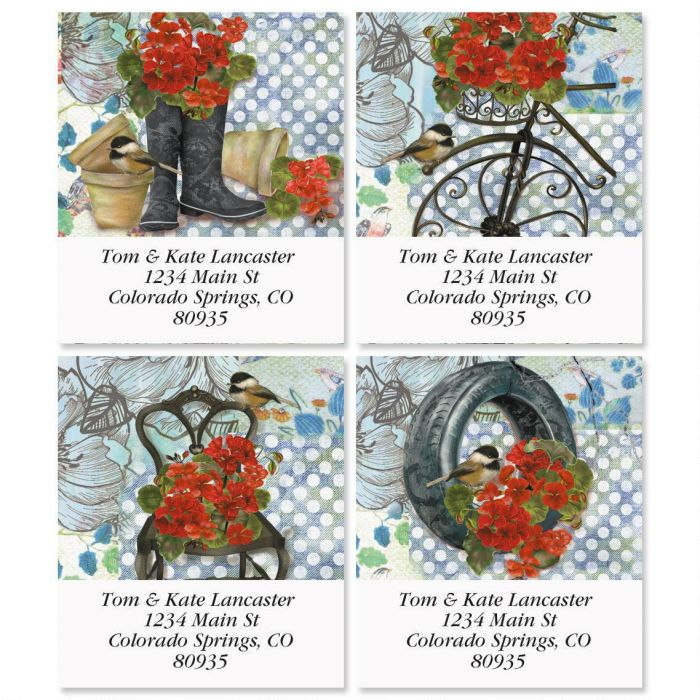 Hardy Geraniums Select Return Address Labels  (4 Designs)
