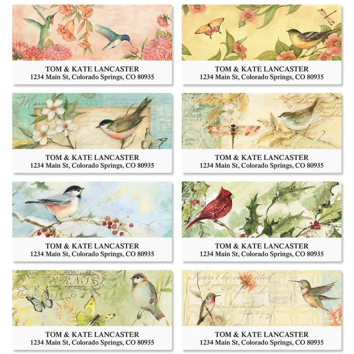 Seasonal Birds Deluxe Return Address Labels  (8 Designs)