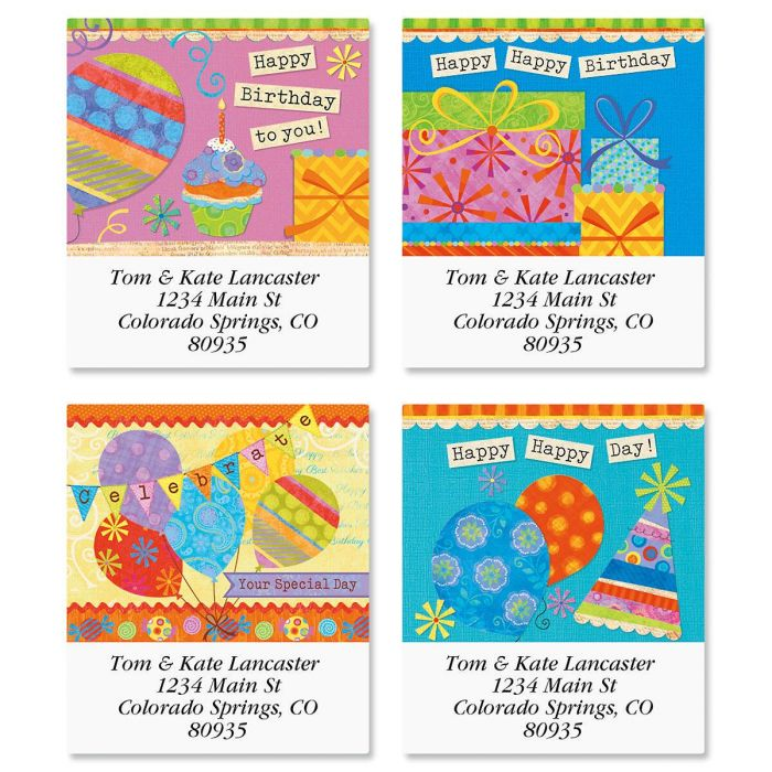 Happy Day Select Return Address Labels  (4 Designs)