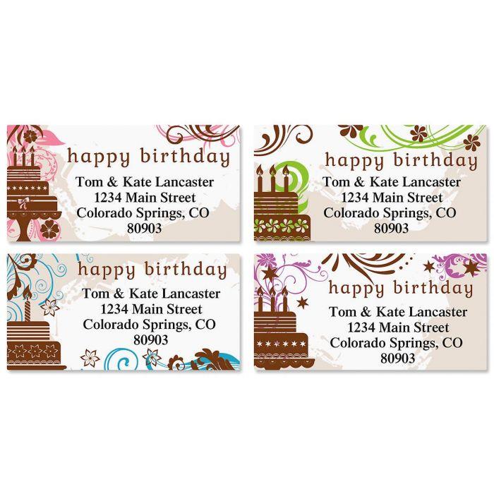 Cake Silhouette Border Return Address Labels  (4 Designs)