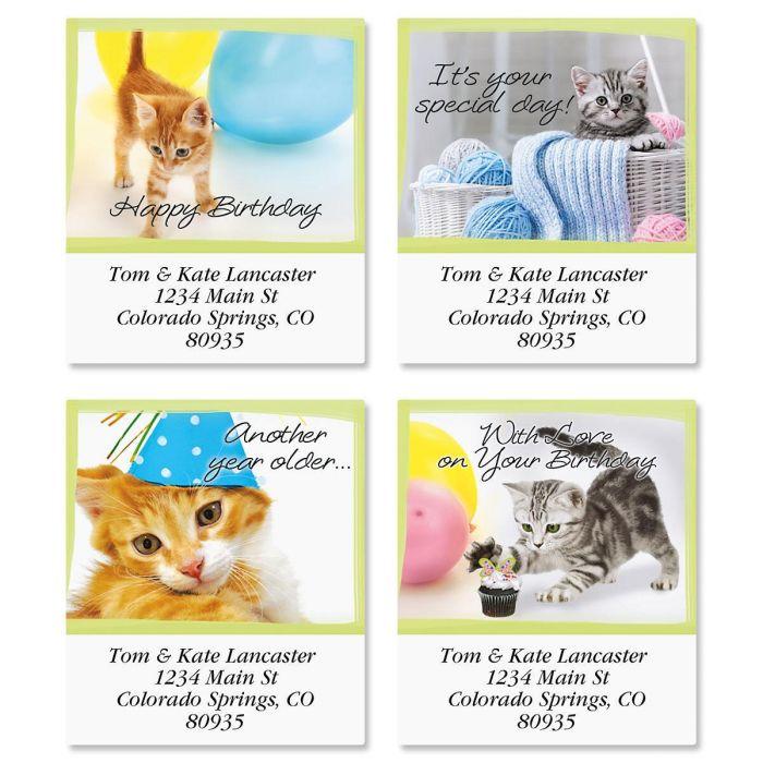 Birthday Cats Select Return Address Labels  (4 Designs)