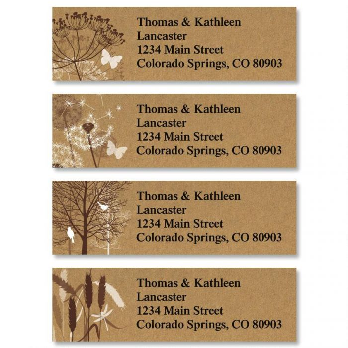 Kraft Foliage Classic Return Address Labels  (4 Designs)