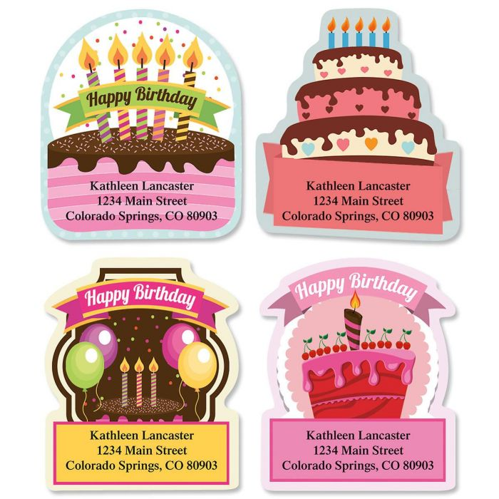 Birthday Ribbon Diecut Return Address Labels  (4 Designs)
