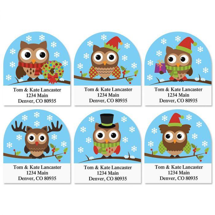 Holiday Hoot Diecut Return Address Labels  (6 Designs)