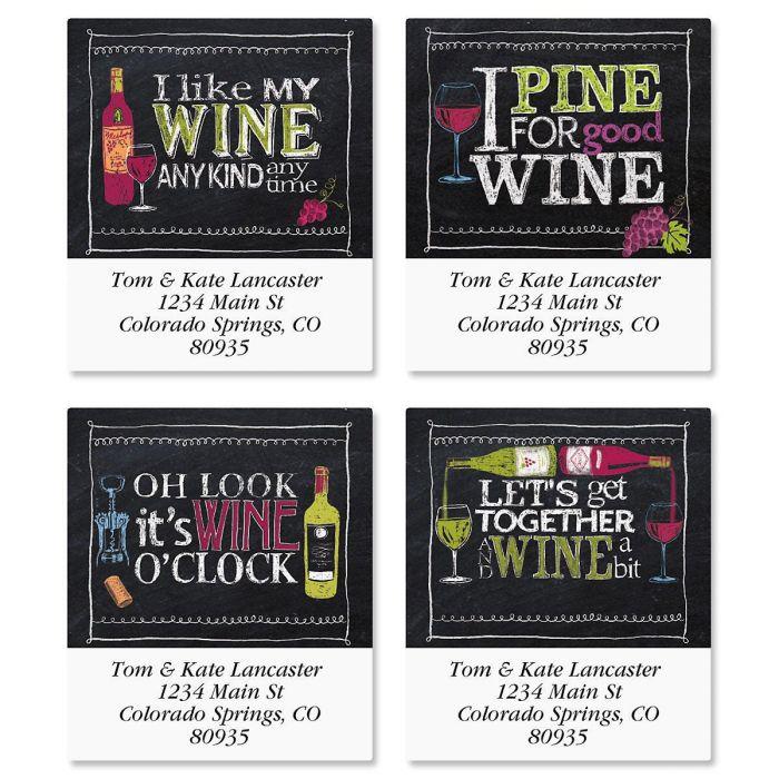 Wine Time Select Return Address Labels  (4 Designs)