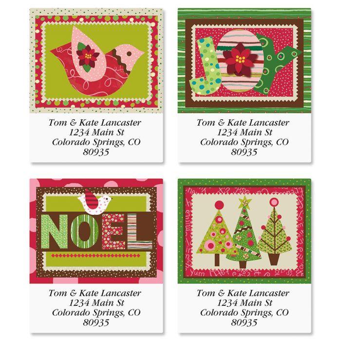 modern noel select return address labels colorful images