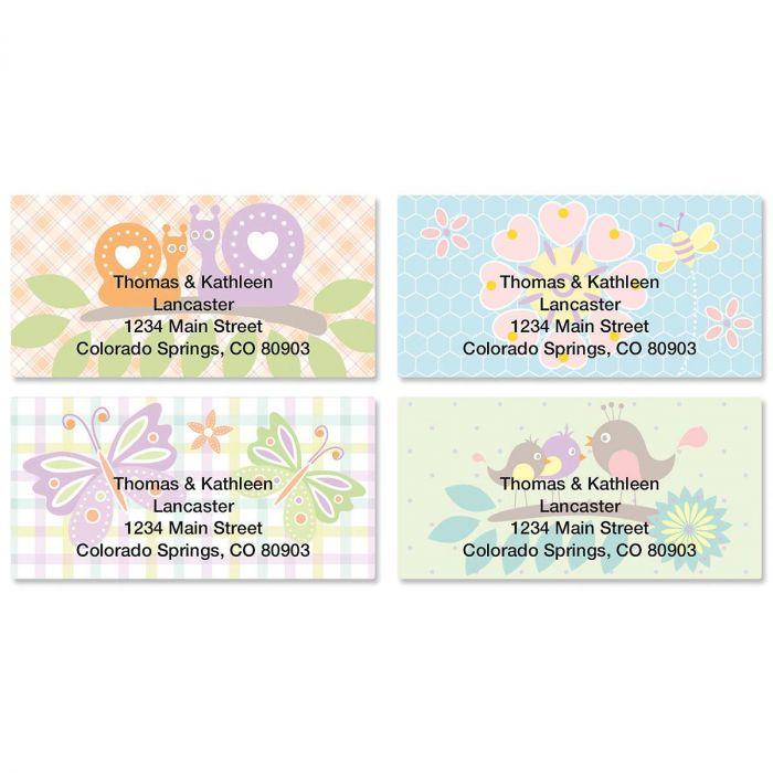 Springtime Border Return Address Labels  (4 Designs)