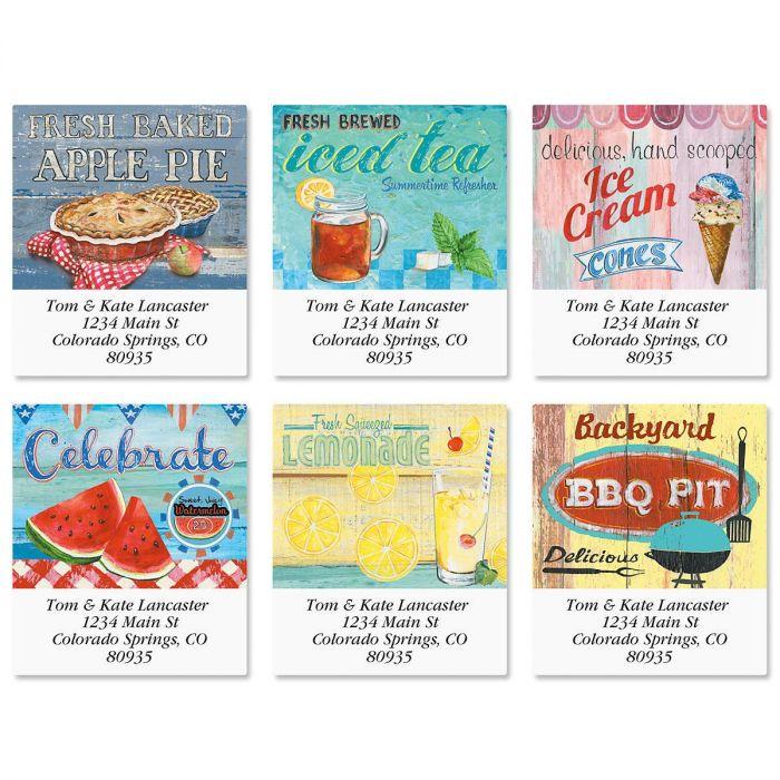 Americana Summer Select Return Address Labels  (6 Designs)