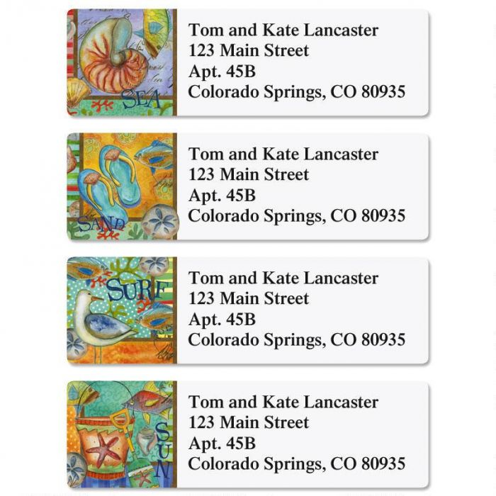 At The Beach Classic Return Address Labels  (4 Designs)