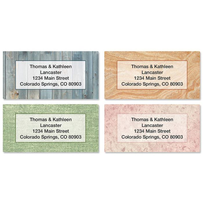 Textures Border Return Address Labels  (4 Designs)