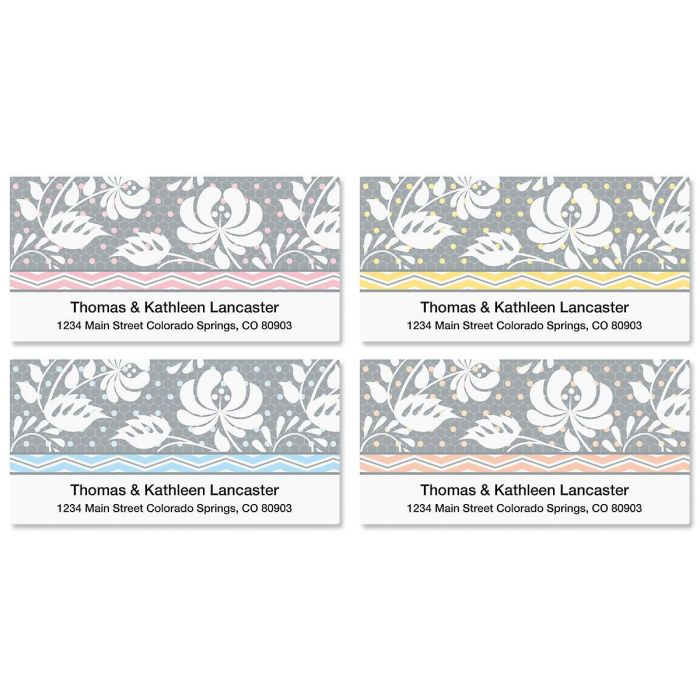 Gray Botanical Deluxe Return Address Labels  (4 Designs)