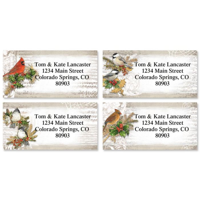 Musical Birds Border Return Address Labels  (4 Designs)