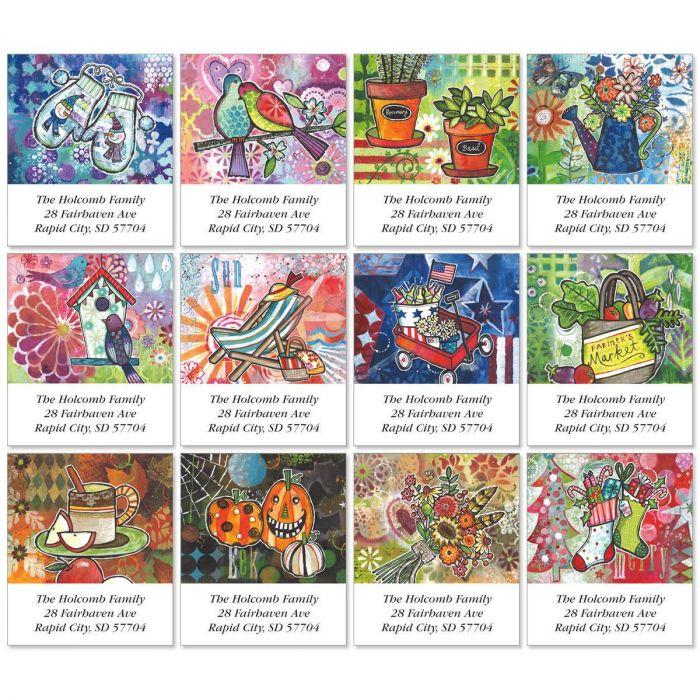 Happy Life Select Return Address Labels  (12 Designs)