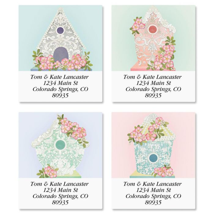 Scroll Birdhouses Select Return Address Labels  (4 Designs)
