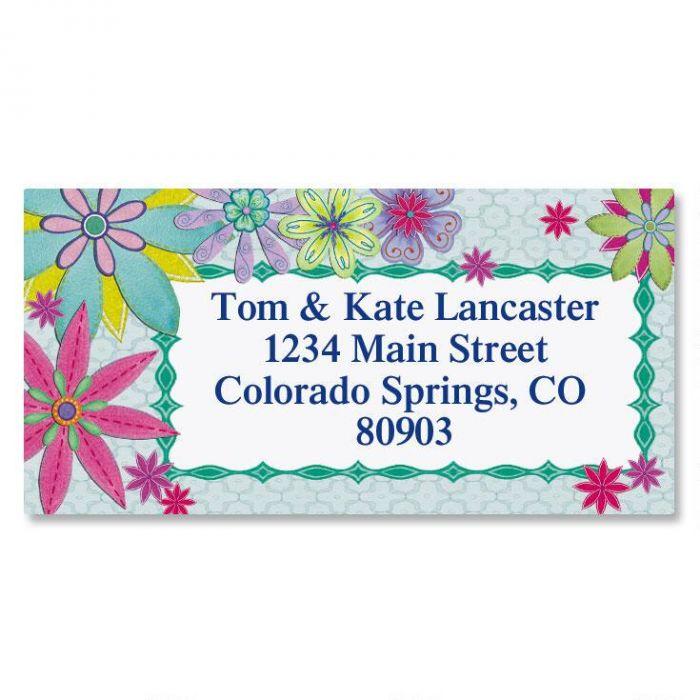 stitched floral border return address labels