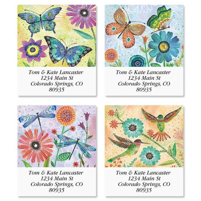 Floral Flight Select Return Address Labels  (4 Designs)