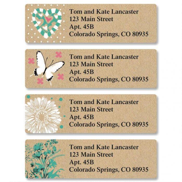 Kraft Floral Classic Return Address Labels  (4 Designs)