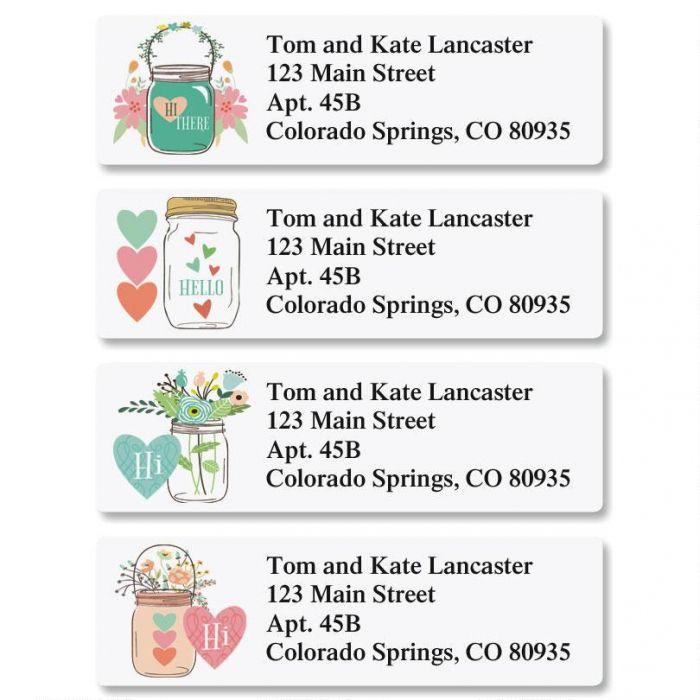 Mason Jar Classic Return Address Labels  (4 Designs)